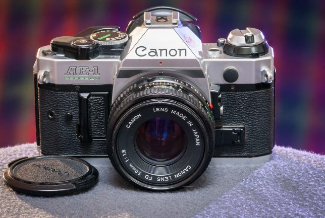The beautifully-made Canon AE-1 Program camera sits in my home studio recently.