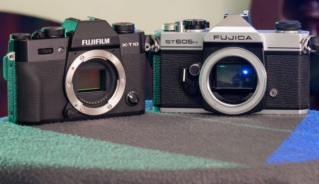 The 2015 Fujifilm X-T10 sits next to the 1978 Fujica ST-605n.