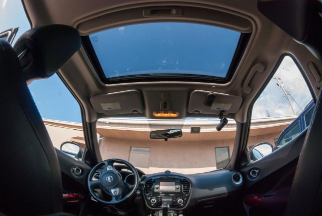 A good example of how wide a fisheye lens can be is this view of the inside of my Nissan Juke, which is a very small car.