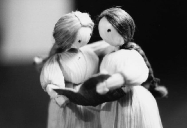 This tiny statue made of corn husks is a representation of my mother and her sister singing together, which was their favorite thing to do.