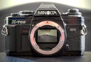 I lent my friend and fellow photographer Mac Crosby this Minolta X-700, a 35mm film camera from the late 1980s. I hope she dazzles me with the results she gets with it.