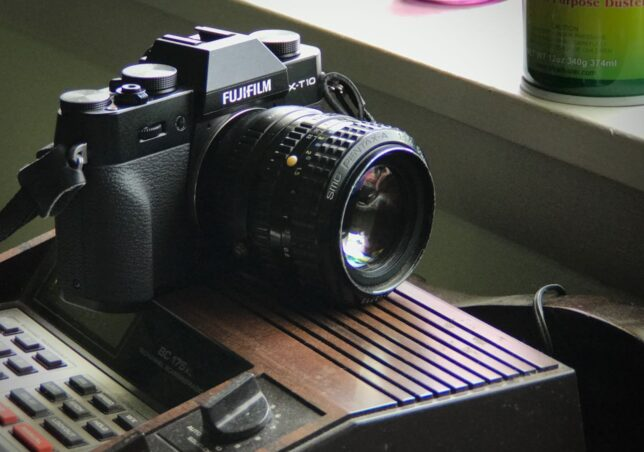 The Fuji X-T10 is shown with the Pentax 50mm f/1.4.