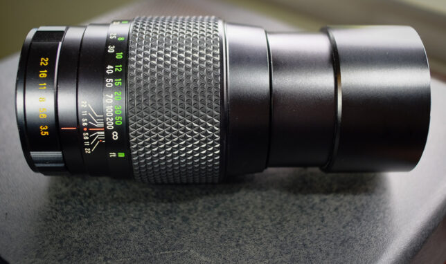 "As soon as I pulled the Mamiya Sekor SX 200mm f/3.5 out of the box from eBay, my wife commented, ""It looks brand new."" In a way, that's a little sad, because it means this lens was probably stored, not taking pictures, for most of its life."