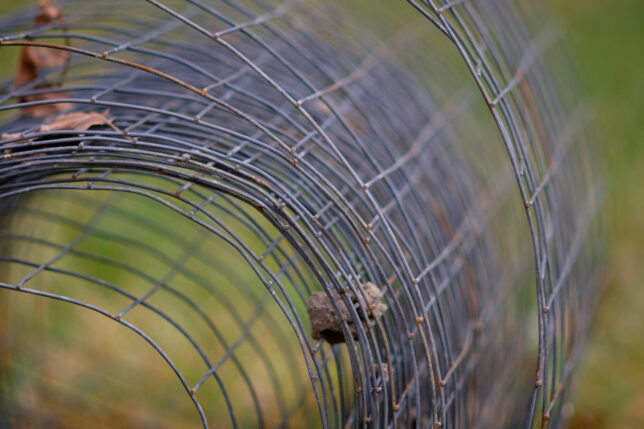 A roll of fence catches a leaf or two in the breeze.