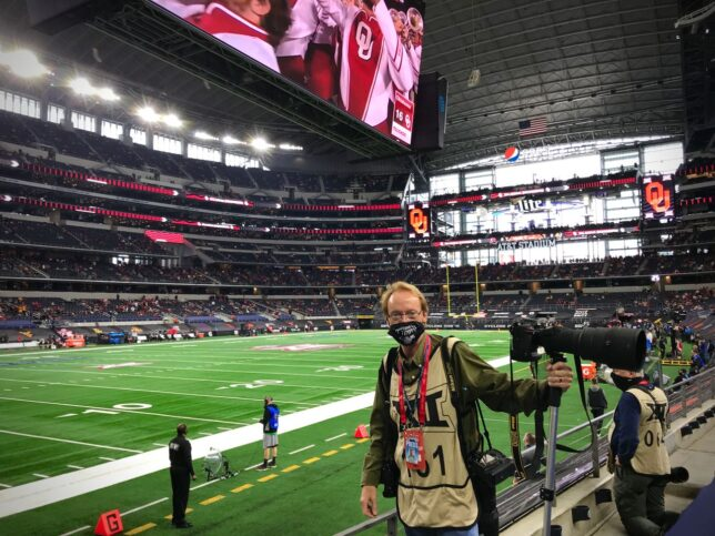 Tulsa World news photographer Ian Maule photographed me in the media area at the Big 12 Championship football game at AT&T Stadium in Dallas Dec. 19.