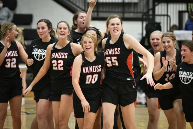 The Vanoss Lady Wolves celebrate an overtime victory again Latta earlier this month. Shot with the Nikon D500 at ISO 10,000, it's a good clean image with minimal noise.