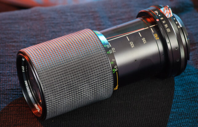 This Vivitar 70-210mm f/4.5 is surprisingly compact, and feels quite heavy for its size. The push-pull zoom is smooth, and the focus throw is very short.