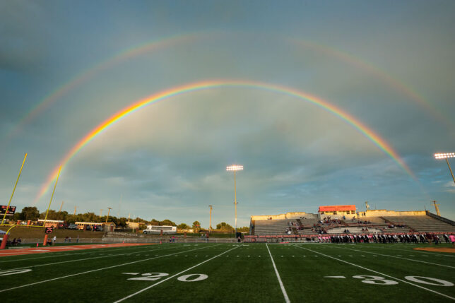 A magnificent bright double rainbow appeared in the eastern sky just prior to the start of Ada High School's football game against Blanchard Friday, Oct. 1. The game was also Ada's Pink Out Night for breast cancer awareness.