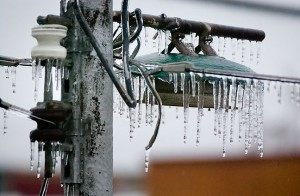 Ice on power line in downtown Ada this morning; except for intermittent interruptions, we have electricity downtown