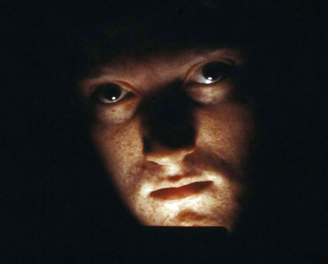 This image, on extended loan from the International Richard R. Barron Museum of Ultra-Serious Self-Portaits Made with a Light Bright, was shot in about 1982.