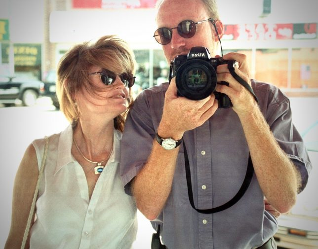 Abby and I pose in a mirror in downtown Ada. I gave her the pendant she's wearing for her birthday in 2003.