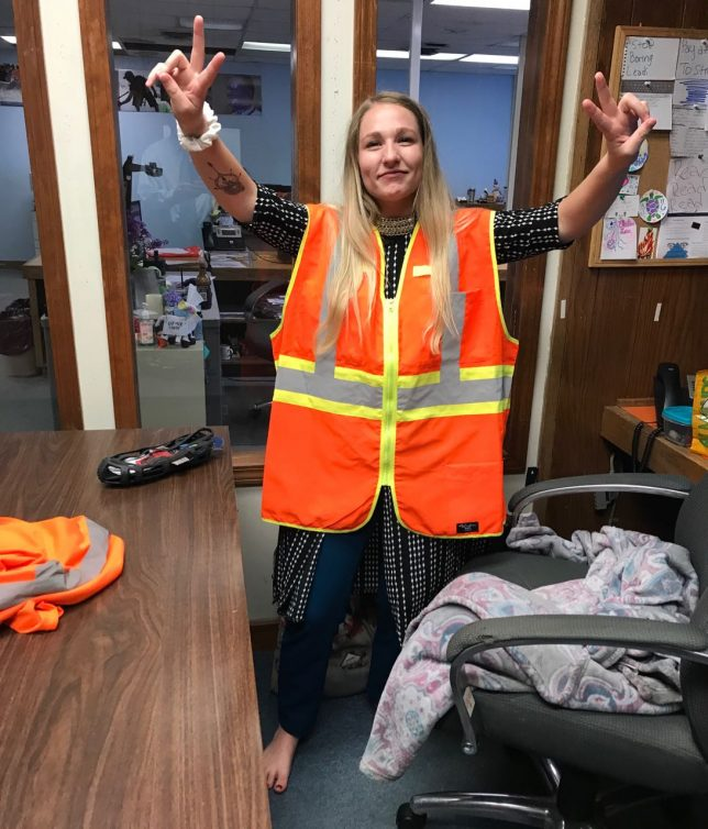 """Nothing says, """"I'm a journalist"""" like a highway safety vest that is 11 sizes too large."""