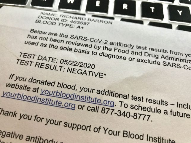 This is a coronavirus antibody screening result from a blood donation I made in May.