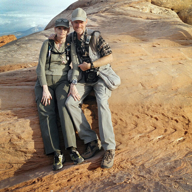 Abby and I pose for a photo on the Devil's Garden trail at Arches National Park the day before we got married.