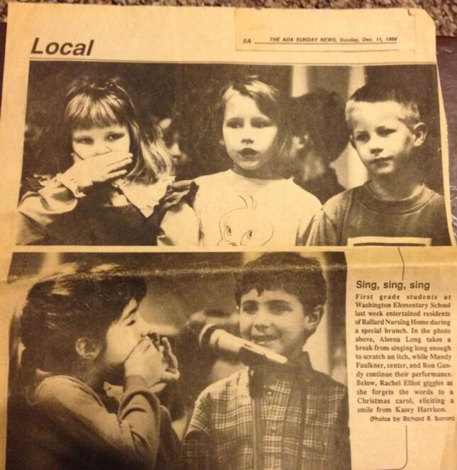 I friended the person who is trying to lose weight after she posted a snapshot of this newspaper, The Ada Evening News from December 11, 1988. I had been at The News for just six weeks when I made those photos.
