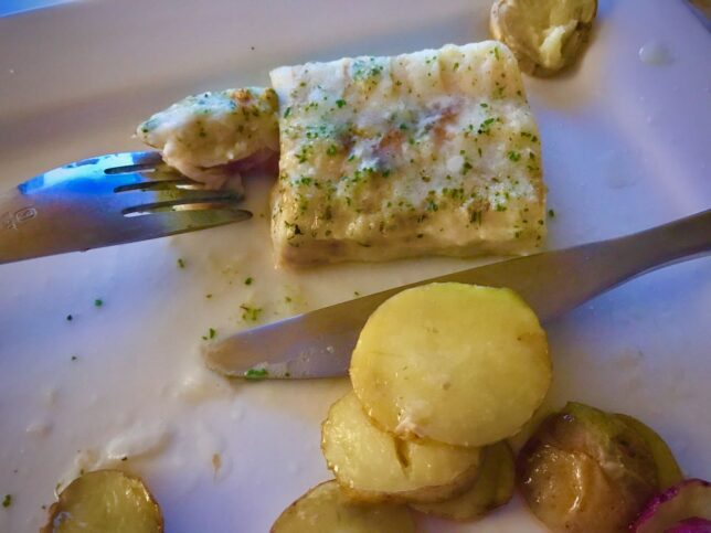 This was my meal of Alaskan pollock last night. Abby had shrimp scampi.