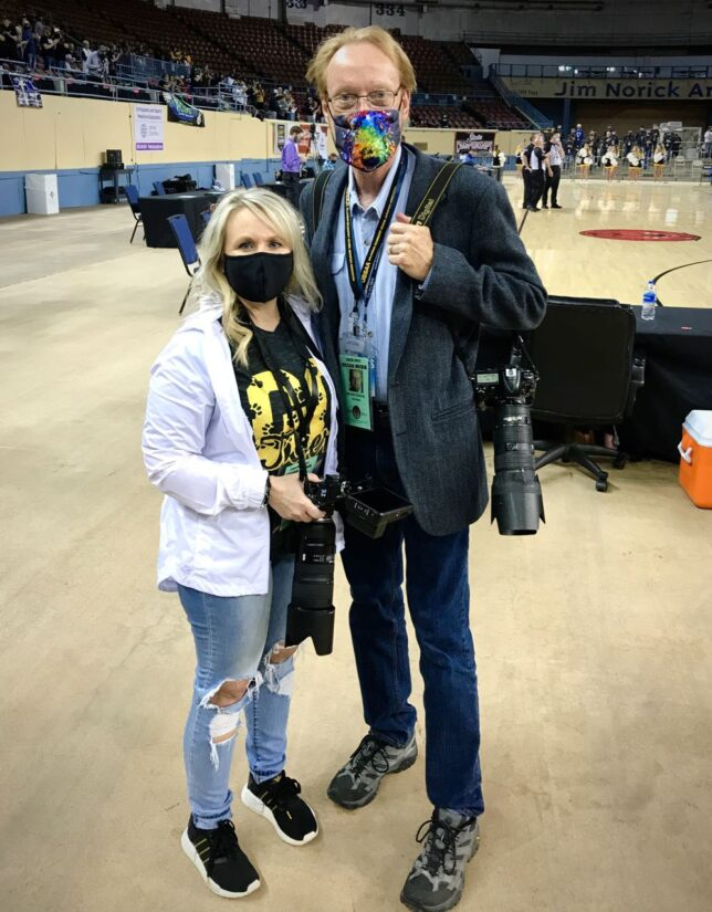 Christy Lucas Sheppard and I wait for the start of the Roff Tiger's state playoff game in Oklahoma City Wednesday. You might know Christy because she was in the Netflix Miniseries The Innocent Man. She was the cousin of Debra Sue Carter, who was murdered in Ada Dec. 8, 1982.