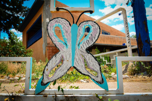 I'm sure this butterfly was meant to brighten up the route through Taos, but now it is graffiti tagged and ratty.