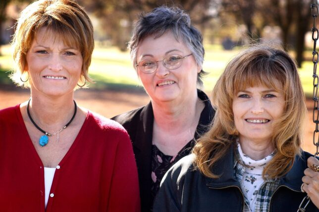 Sisters Gail, Inez, and Abby are pictured in 2003. Inez died August 25, 2021. The youngest Shoffner sister, Gwyn, died in 2000.