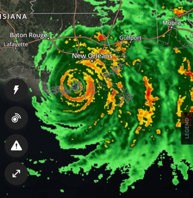 Hurricane Ida radar sweep after landfall Sunday, Aug. 29, 2021.
