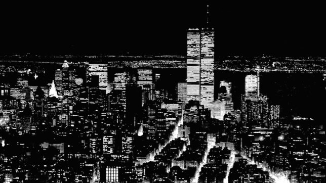 The World Trade Center in New York City is shown in this March 1985 image from the Empire State Building.