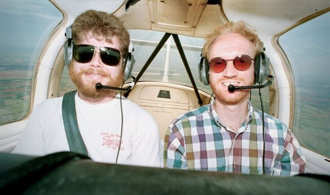 """Just prior to 9/11, I was flying a lot, like in this image of my friend Michael and me flying a cranky Piper Tomahawk (known to aviators as the """"Traumahawk"""") that I rented at Max Westheimer Field in Norman."""