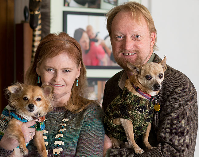 Abby and Richard pose with their Chihuahuas, Sierra and Max, January 2016. Sierra passed away in March 2018, and Max passed away in May 2019.