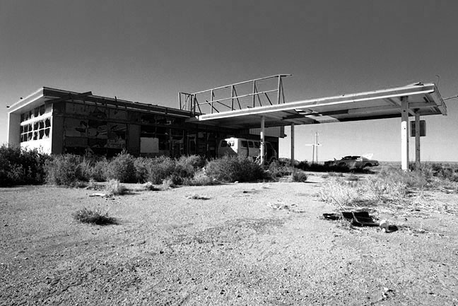 "The ""Plague Town"" along Interstate 40 is a bleak reminder of the unforgiving nature of the desert."