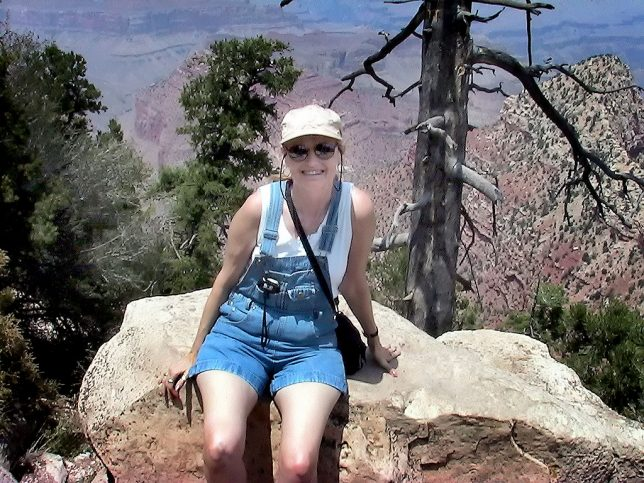 Abby smiles from the south rim of the Grand Canyon. It was her first visit to the landmark.