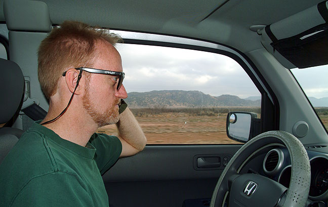 Driving Michael's Element near the Texas-New Mexico border