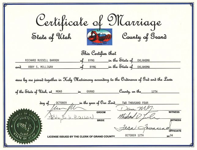 A likeness of Delicate Arch appears on our marriage license. I wonder how many people can say that the place they got married is on their license.