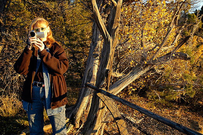 Abby makes video at Square Tower House, Mesa Verde National Park, Colorado.