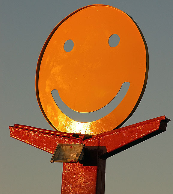 Happy restaurant sign, Carlsbad, New Mexico.