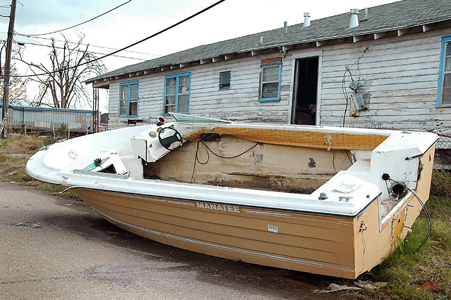 An oddly common sight in the Lower Ninth Ward was boats of all sizes, like this one not far from Nicole's house.