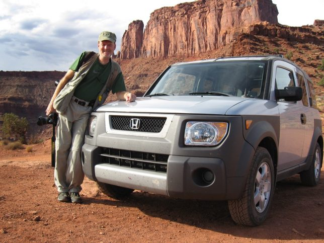The author poses with Michael's Honda Element on the White Rim Road.