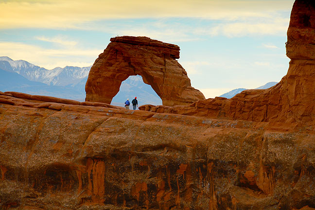 This view looks southwest toward Delicate Arch from the formation across the canyon. Its exploration turned our to be a great idea.