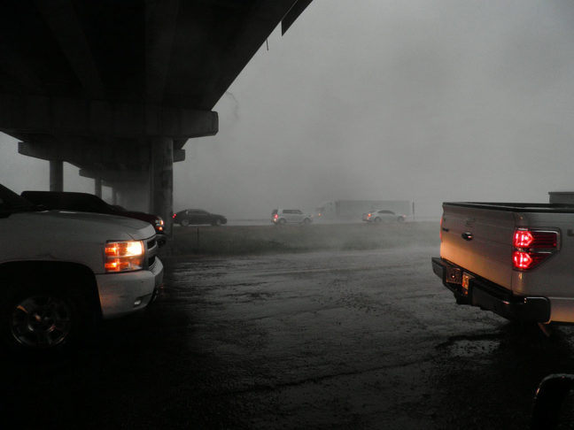 Though we were the first to take cover beneath this underpass, we were joined by a number of vehicles of all sizes, avoiding hail, gail force winds and zero visibility.