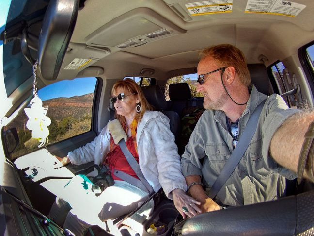 """Abby gives me a little """"whoa"""" as we make our way down a four-wheel-drive road in southern Utah."""
