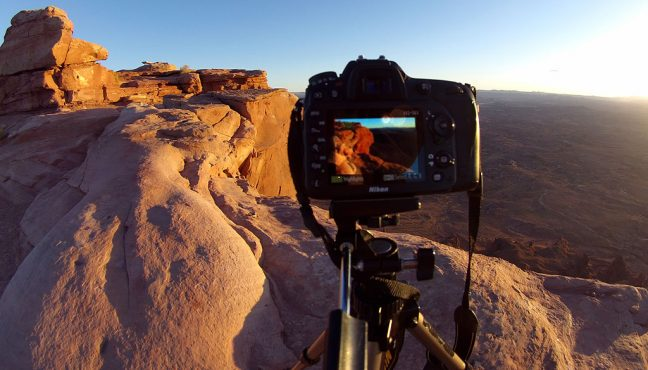 My D7100 sits on its tripod to make images of the Needles Overlook at sunset.