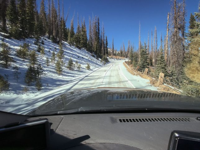 The road up to Lobo Overlook was snow packed and shoulderless, but it never presented any challenged.