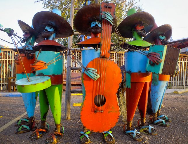 I spotted this Mariachi band made of steel as I drove to The Plaza in Santa Fe.
