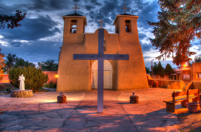I spent nearly an hour photographing San Francisco de Asís Mission Church in Rancho de Taos as the post-sunset light matured, mostly shooting five-frame brackets to assemble as HDR images later. This might be my favorite image of this trip.