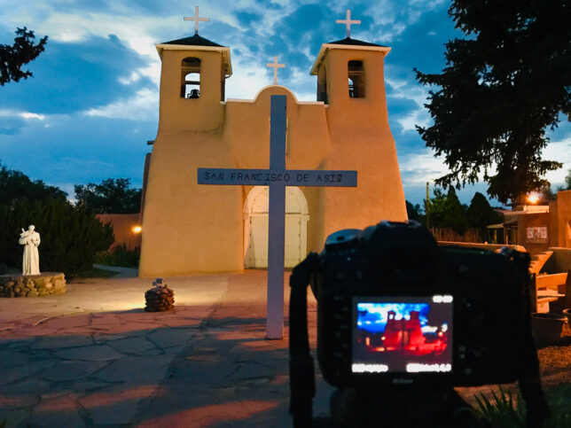 This was my setup for the first in a series of images at dusk at the San Francisco de Asís Mission Church in Rancho de Taos.