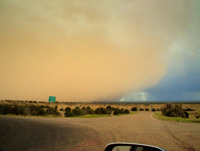 Thunderstorm winds kicked up an impressive dust storm just as we were leaving Clines Corners, New Mexico.