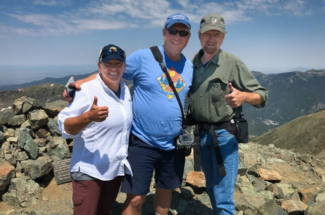 Kathy, Scott and I pose for a photo made by a fellow hiker at the top of Wheeler Peak.
