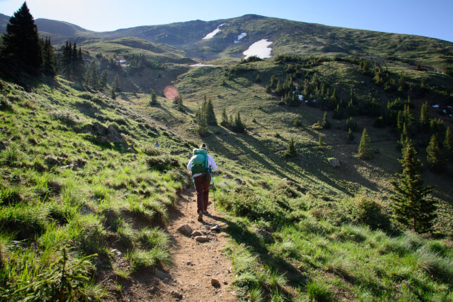 Kathy makes a good pace across switchbacks in the beautiful alpine surroundings of the Wheeler Peak trail.