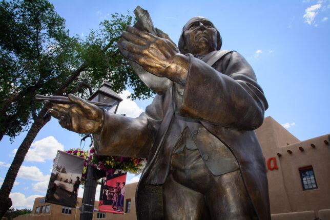 This bronze sculpture of Taos founder Antonio José Martínez was dedicated in 2006.