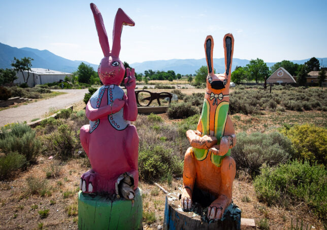 Large wooden rabbits stand at the entrance to ... something. There was no sign, but it was clearly home to an art installation of some sort.