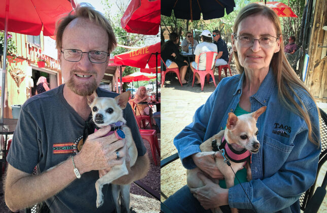 Abby and I photographed each other with Summer the Chihuahua at The Hollar restaurant in Madrid, New Mexico.