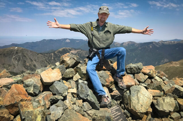 Your host celebrates his arrival on the high point of New Mexico, Wheeler Peak, at 13,167 feet above sea level.